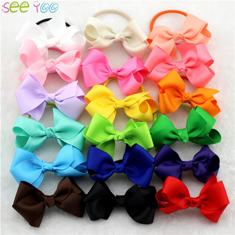 6Pcs 3 Grosgrain Ribbon Hair Bow with Colorful Elastic Hair Bands little Girl HairBow head ring accessories Kids Hair rope 6pcs 3 grosgrain ribbon hair bow with colorful elastic hair bands little girl hairbow head ring accessories kids hair rope