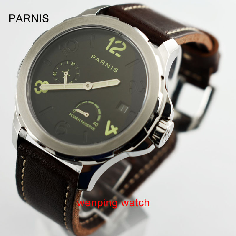 Parnis Asia 2530 Automatic Watch Luminous Mark Power Reserve Date watch Indicator Leather Strap Men Wristwatch
