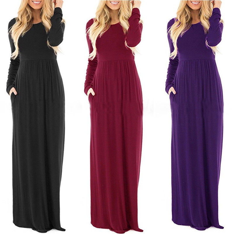 5 Colors Plus Size Long Dress 2017 New Autumn Boho Long Maxi Dress Women Evening Party