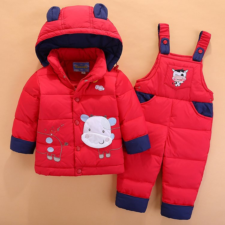 sets suit thick baby children's down jacket, two pieces of winter clothes for children and children, 1-2-3 years old children of bodom 20 years down