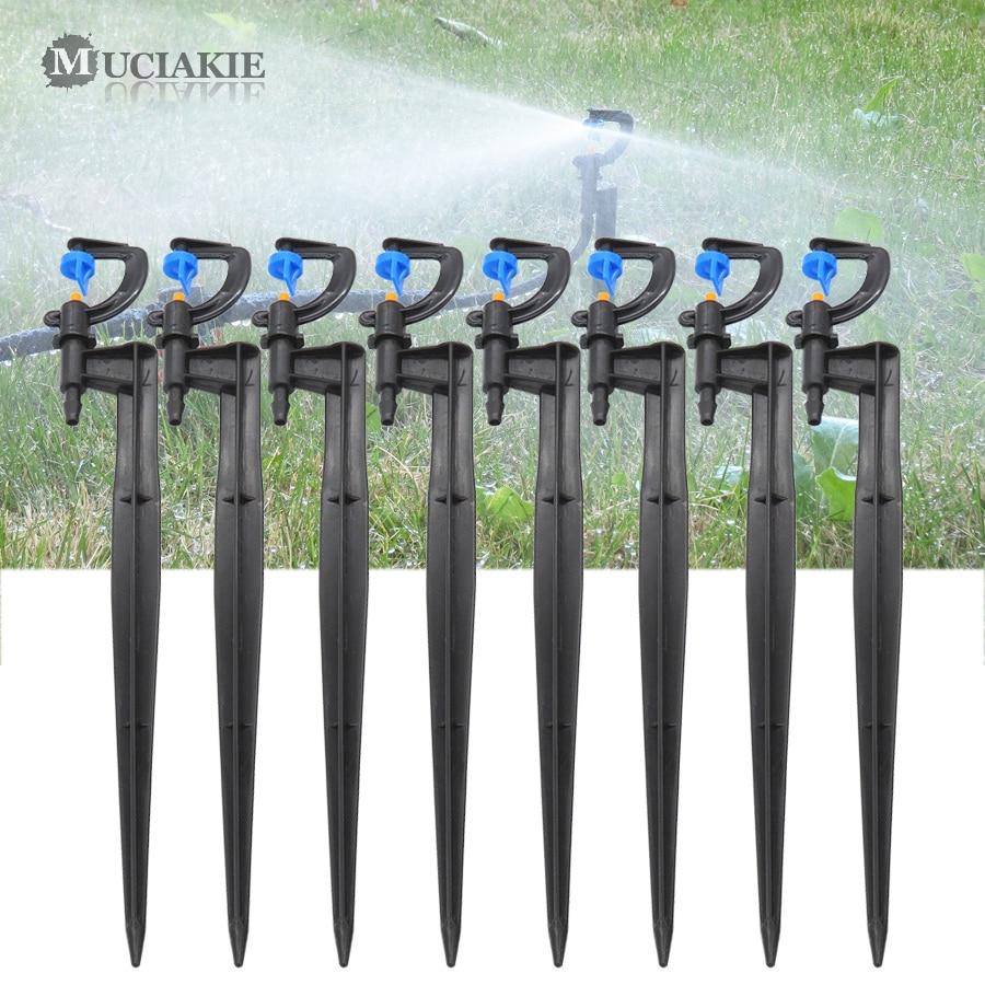 MUCIAKIE 50PCS 24CM 180 Degrees Mist Nozzles On Stake Garden Irrigation Micro Drip Sprinklers Sprays Gardening Supplies Head