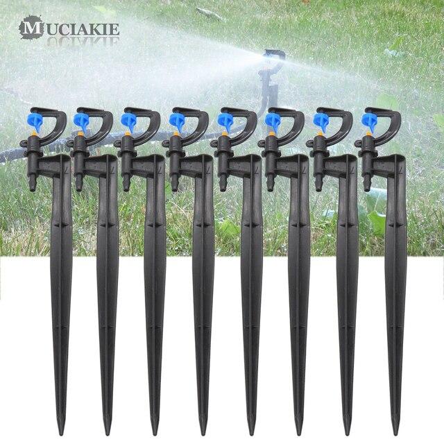 MUCIAKIE 50 個 24 センチメートル 180 度ミストノズルにステークガーデン灌漑マイクロドリップスプリンクラースプレー園芸用品ヘッド