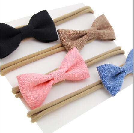 on sale 4pcs baby girl boy spandex nylon headband children skinny stretchy Non-Marking cotton Bowknot elastic hair Band