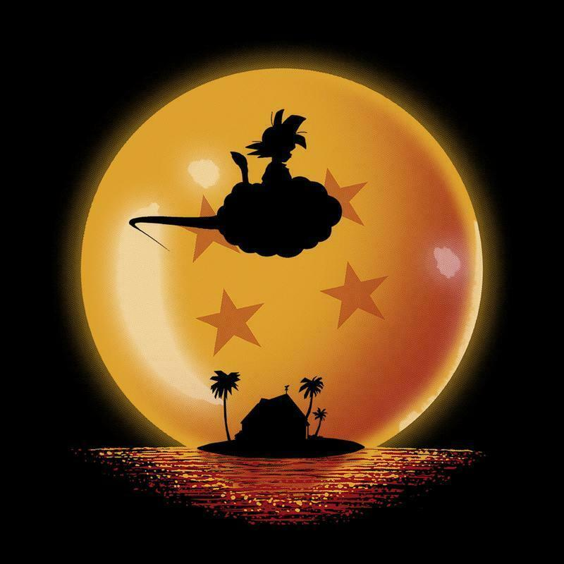 Dragon Ball Son Goku Riding a cloud Cute Black T-shirt S-3XL