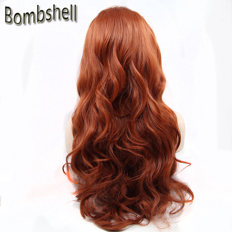 Bombshell BEAUTY High Temperature Fiber Perruque Orange Wigs Long Body Wave Cooper Red Synthetic Lace Front