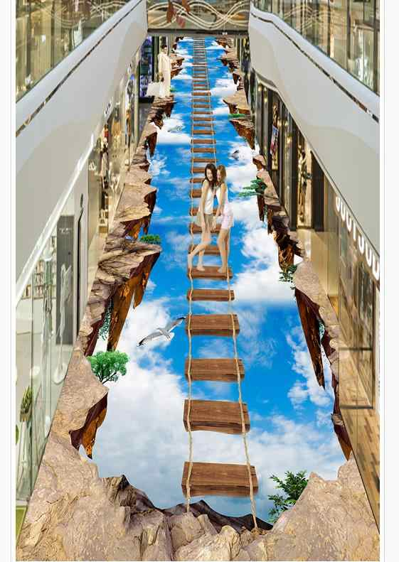 Modern Custom 3D Floor Mural Sky affixed to painting outdoors PVC Wall Paper Self-adhesive Floor Mural