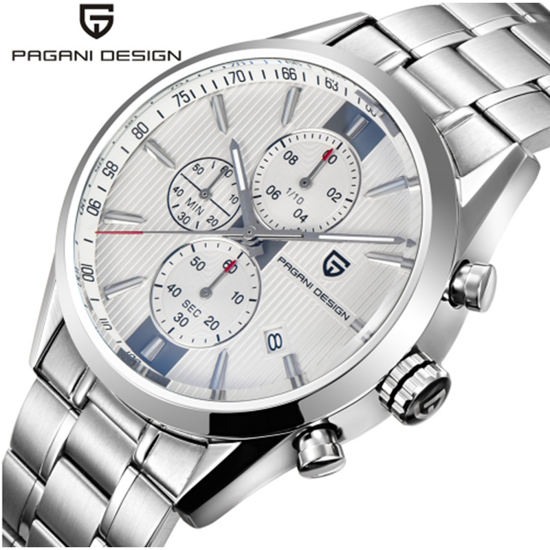 PAGANI DESIGN Luxury Brand Stainless Steel Watch Men's Chronograph Waterproof Watch Men's Quartz Watch Multifunction Leather