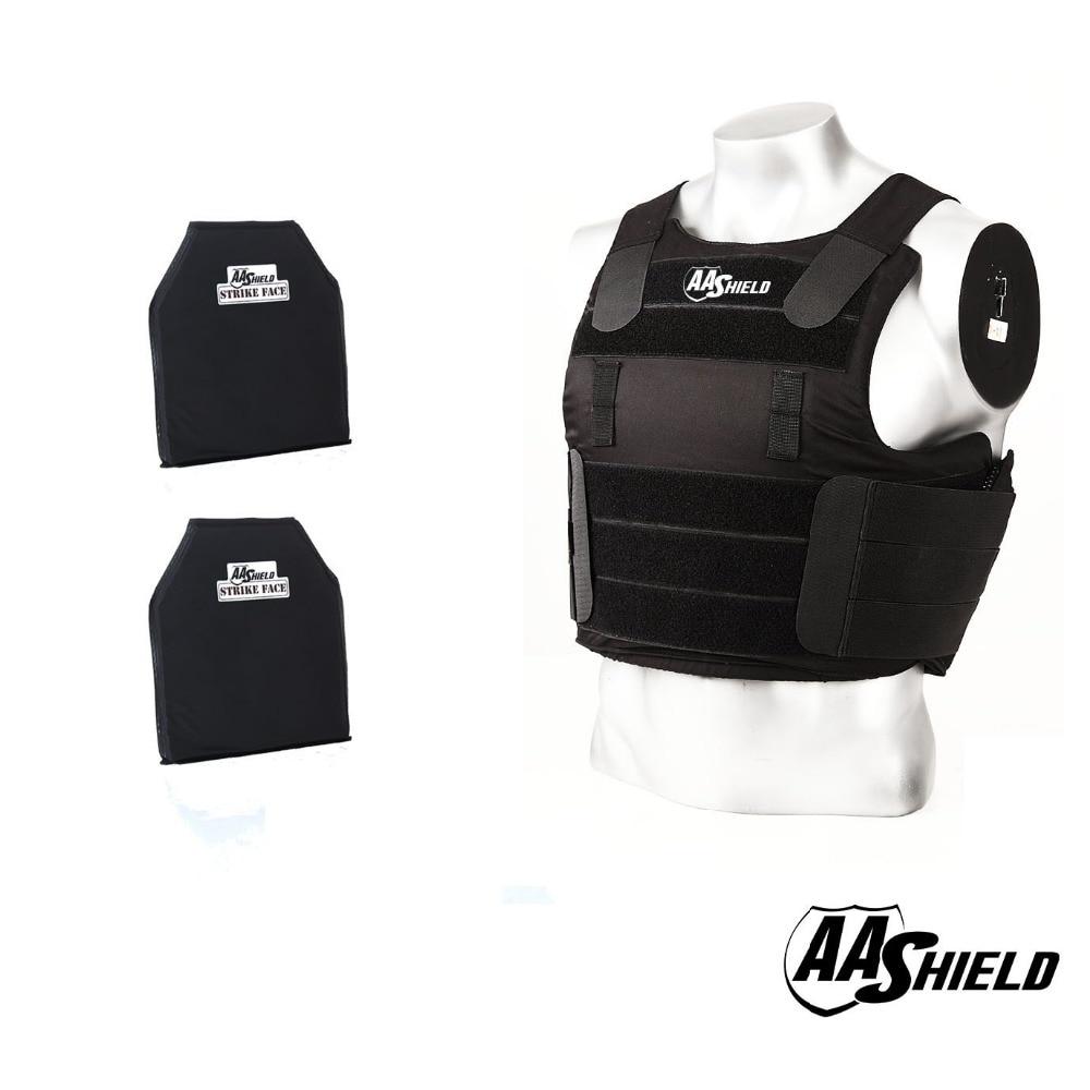 AA Shield Tactical Ballistic Concealable Balcs Vest Soft Armor Carrier Lvl NIJ IIIA Teijin Plates Bullet Proof Carrier Black M/L