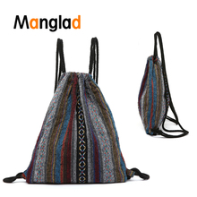 Vintage Canvas Drawstring Bags Knit Backpack Exquisite Shopping Sack Bags Printed School Bag Fashion Cute Rucksacks for Girls
