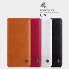 leather case for Samsung Galaxy S10 /S10 Plus Nillkin QIN Protective flip Cover wallet Case for Samsung Galaxy S10 nillkin protective pu leather pc flip open case for samsung g360 black