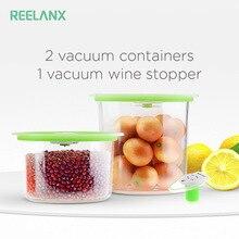 Reelanx Vacuum Containers 식품 와인 보관을위한 와인 스토퍼 공기 밸브가있는 진공 실러 항아리와 함께 신선한 작업