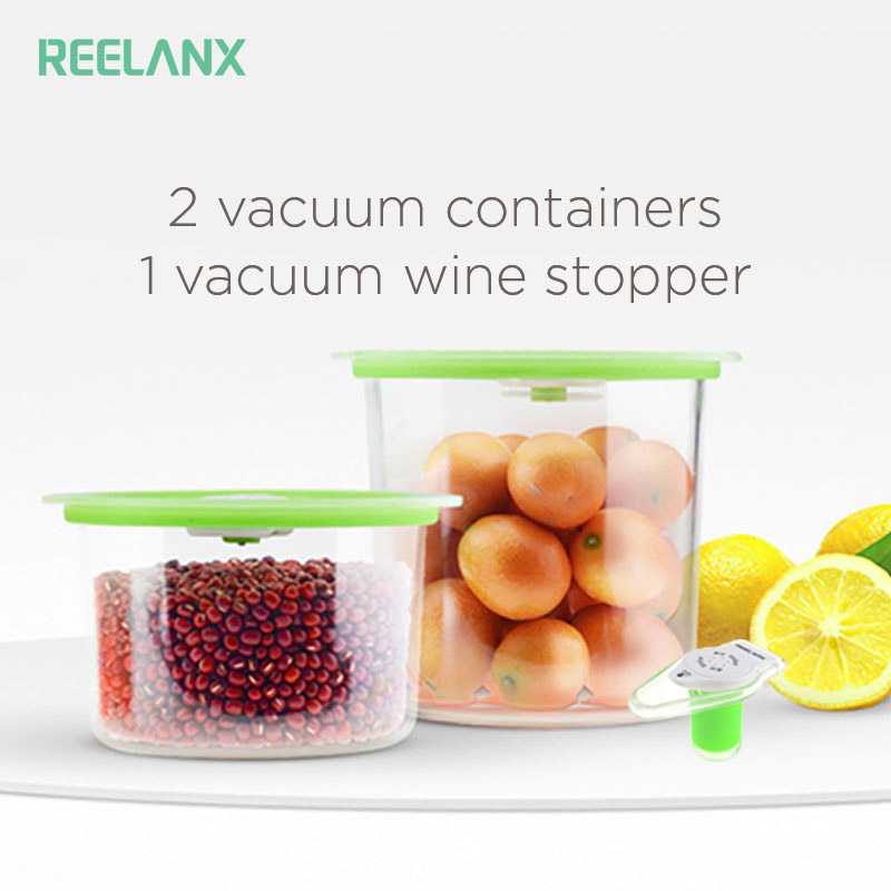 Reelanx Vacuum Containers Wine Stopper for Keeping Food Wine Fresh Work with Vacuum Sealer Jar with Air Valve(China)