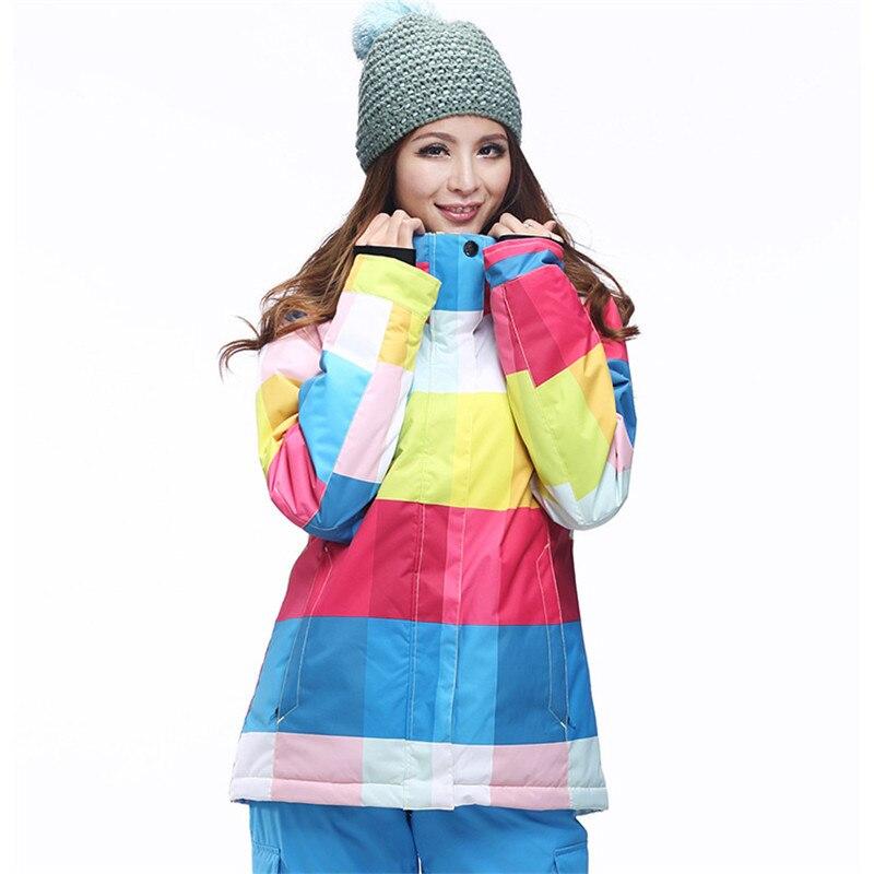 Nouveau Double plaque Snowboard vêtements dames style coréen nouveau imperméable coupe-vent Plaid ski costume super épais chaud veste de ski - 4