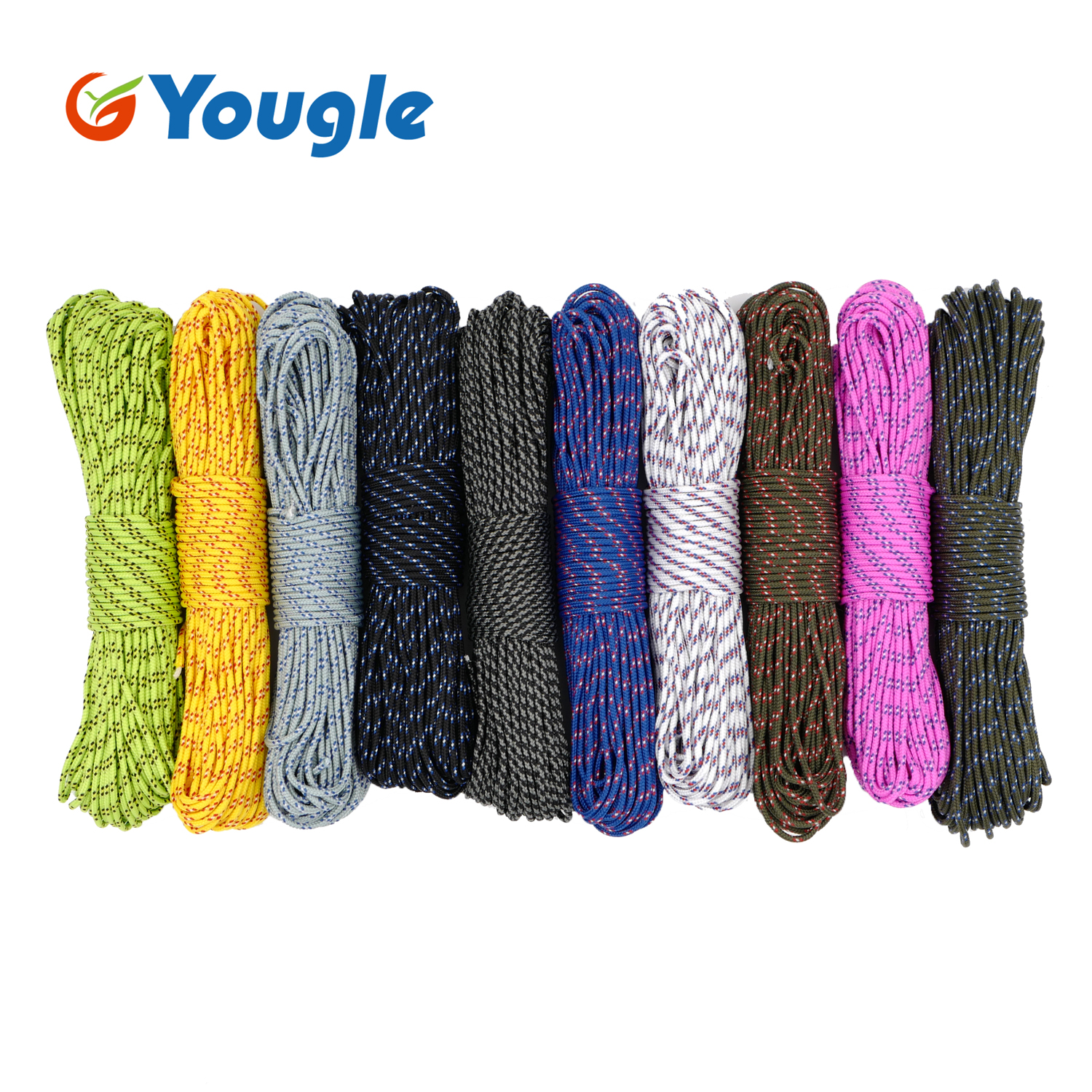 NEW 100FT 3mm 280LB 5 Strands Paracord Parachute Cord Micro Cord Lanyard Guyline Tent Rope For Outdoor Camping Hiking Bracelet