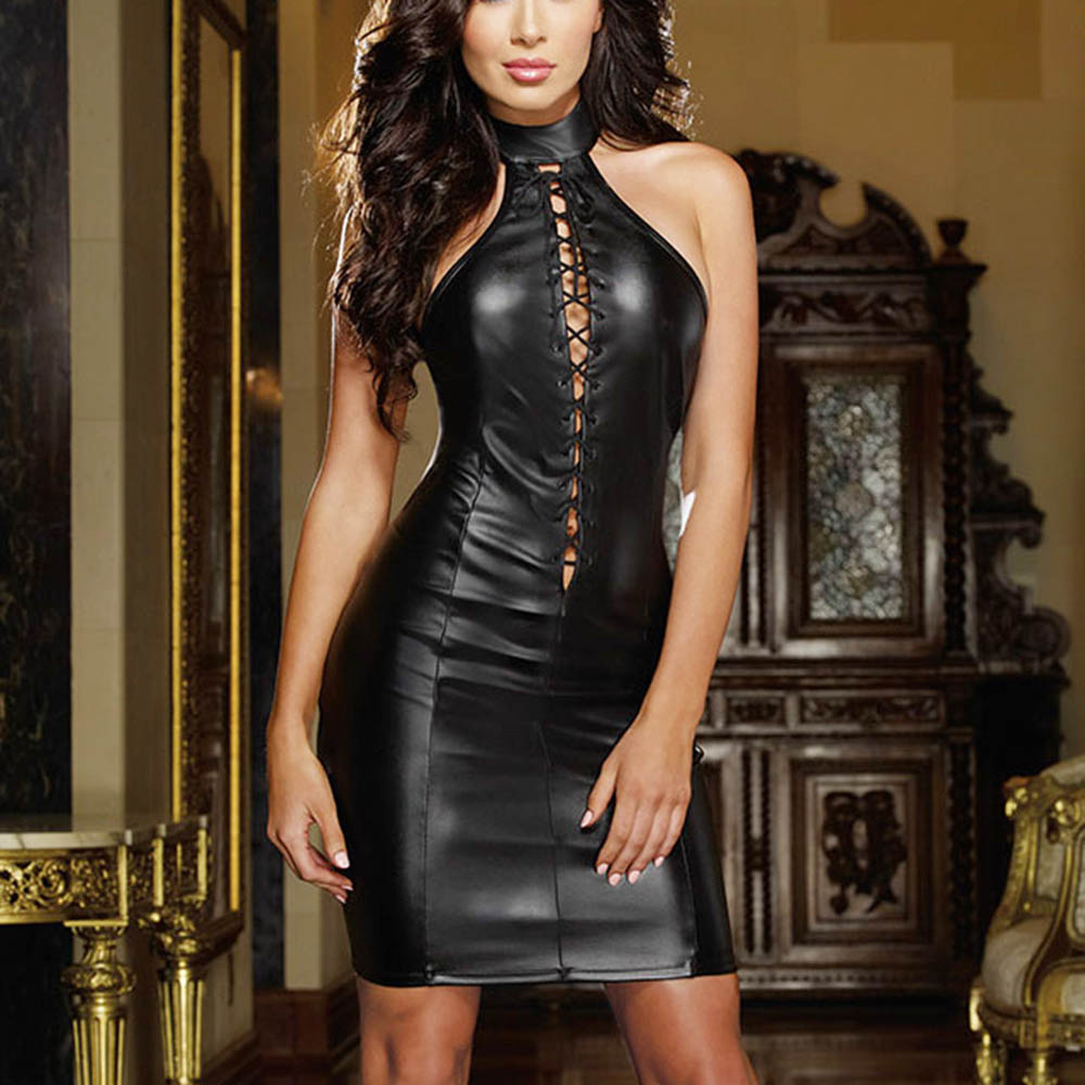 Black Faux Leather Bandage Party Dress Halter Off Shoulder Lace Up Design Nightclub Sexy Wetlook Vinyl Mini Dress Bodycon Dress