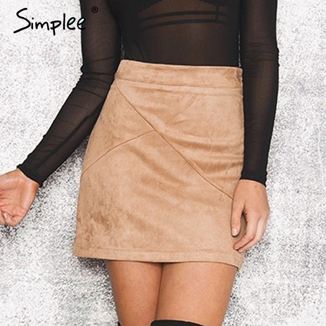 Simplee осень винтажные Кожаные Замшевые юбка-карандаш Зима 2016 крест Высокая талия юбка молния Сплит Bodycon Короткие юбки женские