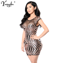 2018 Summer Gold Black Sequins Dress Women Sexy Mesh See Through Backless Woman Slim Vintage Luxury Club Party Dresses Vestidos