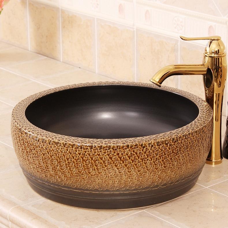 Europe Vintage Style Ceramic Art Basin Sink Counter Top Wash Basin Bathroom Sinks Vanities Wash Basin