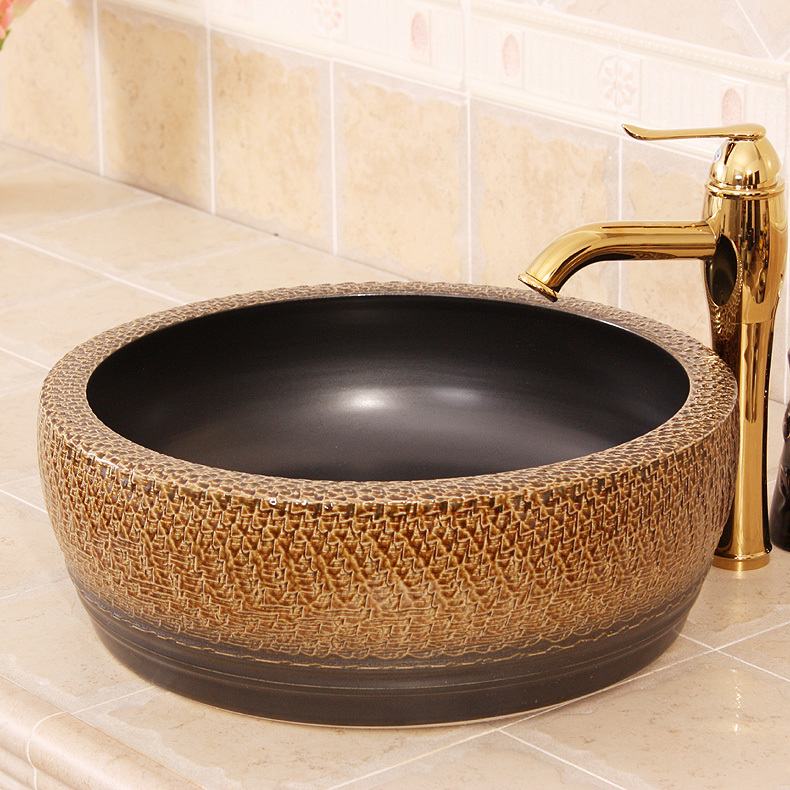 Europe Vintage Style Ceramic Art Basin Sink Counter Top Wash Bathroom Sinks Vanities