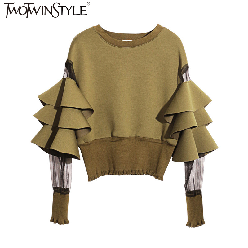 TWOTWINSTYLE Patchwork Mesh Perspective Short Female Sweatshirt For Women Top Pullovers Loose Black Autumn Top Clothes New 2020