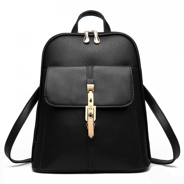 Fashion Women Backpacks PU Leather Solid Color Backpack School Bags College  Simple Design Casual Daypacks For e3d00fd7a9