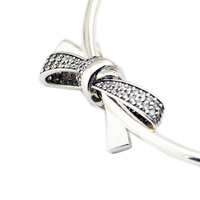 Fits For Pandora Charms Bracelets Brilliant Bow Beads with Clear CZ 100% 925 Sterling Silver Jewelry Free Shipping