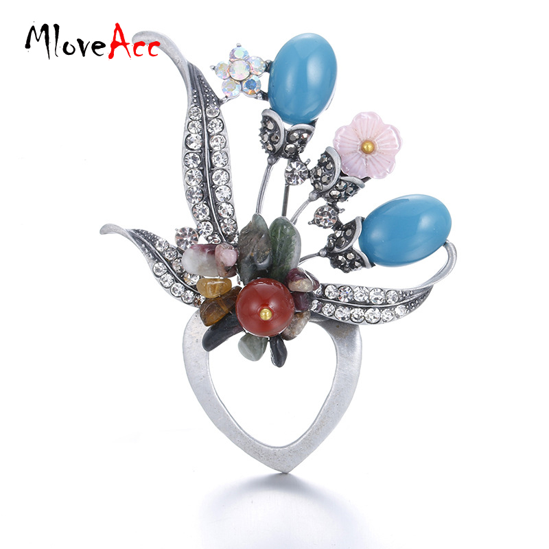 MloveAcc Hot Style Colorful Stone Brooches Pin Beautiful Women Flower Decoration Accesso ...