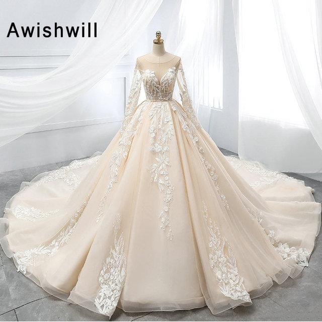 New Arrival 2019 Gorgeous Ball Gown Wedding Dresses for Bride Long Sleeve  Lace Appliques Vestido De Novia Princess Wedding Gowns f075a60fa02a