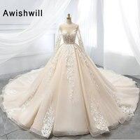New Arrival 2019 Gorgeous Ball Gown Wedding Dresses for Bride Long Sleeve Lace Appliques Vestido De Novia Princess Wedding Gowns