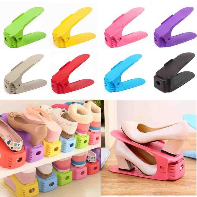 8pcs Durable Plastic Shoe Organizer Detached Double-Wide Shoe Storage Rack  Modern Double Cleaning Storage 7980d7d38722