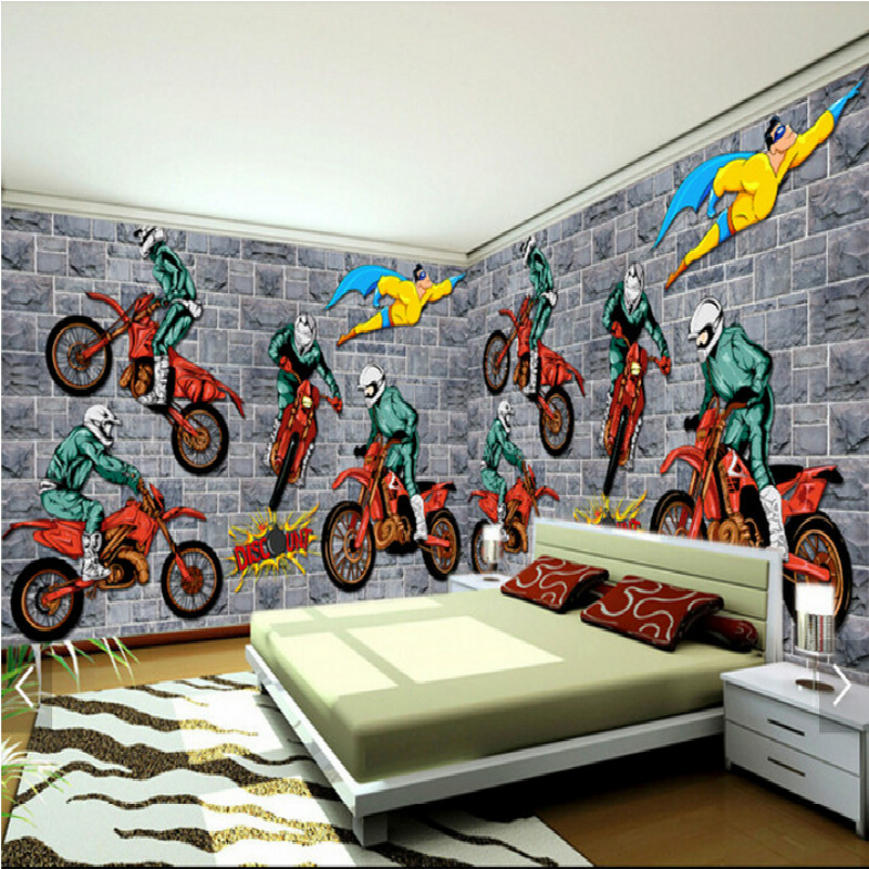 Creative motocross sports a large mural 3d wallpaper bedroom living room TV backdrop painting three-dimensional wallpaper pink romantic sakura reflection large mural wallpaper living room bedroom wallpaper painting tv backdrop 3d wallpaper