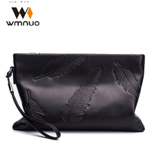 Wmnuo Brand Day Clutches Men Long Hand Bag Genuine Leather M