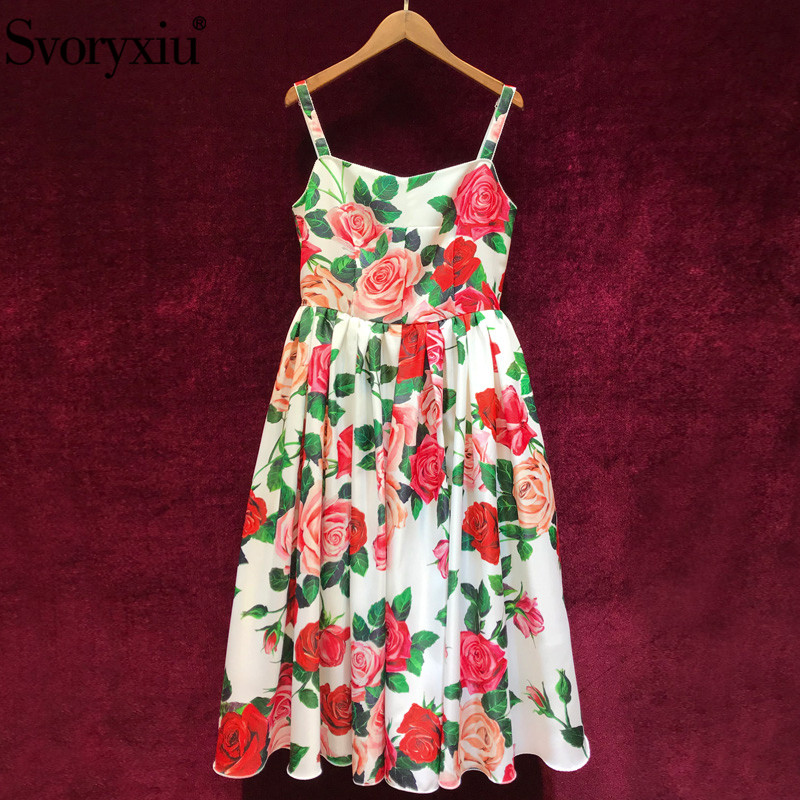 Svoryxiu 2019 Runway Summer Party Sexy Spaghetti Strap Dress Women s Charming Rose Floral Print Dresses