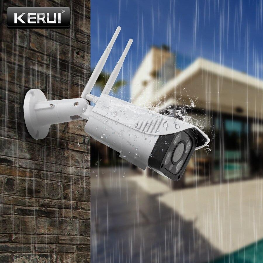 Kerui inteligente wi fi câmera ip cctv p2p sem fio câmera de segurança ao ar livre ip66 à prova dwaterproof água cartão sd armazenamento monitor visão noturna