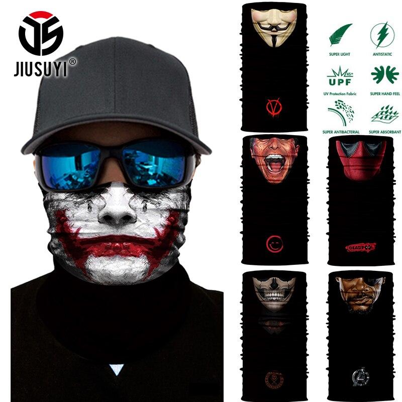 3D Seamless Magic Bandana Headband Clown Horror Face Men Scarf Tube Neck Warmer Face Mask Halloween Bicycle Headscarf Headwear