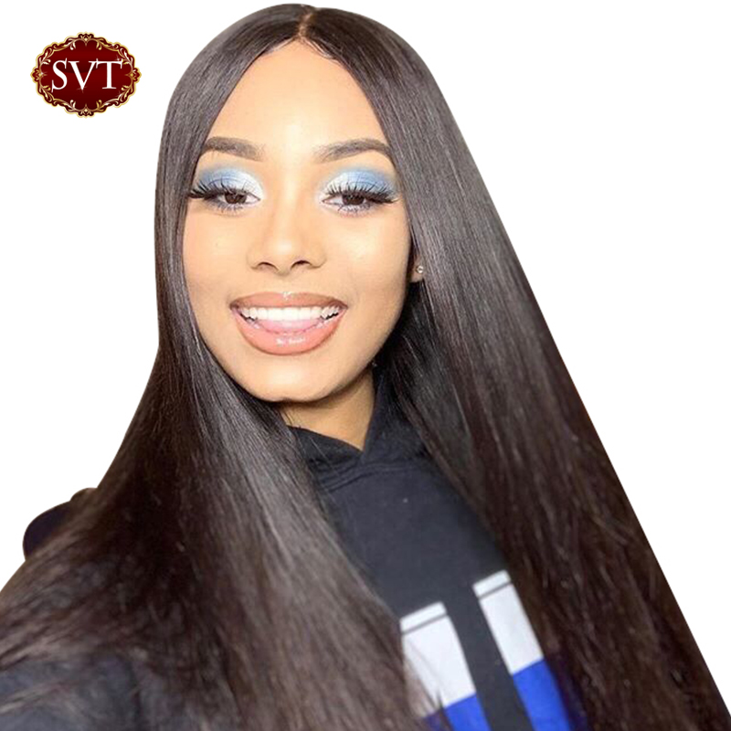 SVT Straight Lace Front Wig Remy Peruvian Lace Front Wigs 8 24 Pre Plucked Human Hair