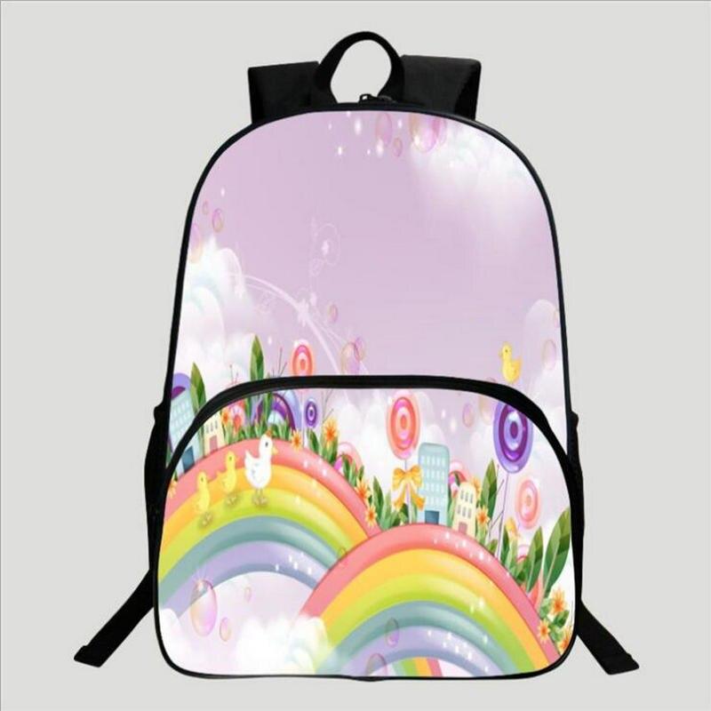 9ab2436b868b Популярный детский школьный рюкзак с 3D принтом радуги и бабочки 1-3  класса, школьный