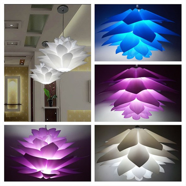 DIY Lotus Chandelier PP Pendant Lampshade Ceiling Room Decoration Puzzle Lights  Modern Lamp Shade(China Idea
