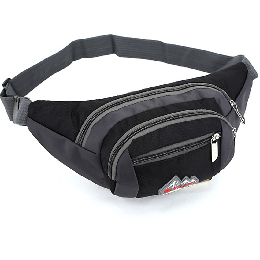 QINYIN Military Bag Pouch Three Zipper Pockets Men Female Casual Durable Fanny Waist Pack Waist Bags Belt Canvas New Hip Bum in Waist Packs from Luggage Bags