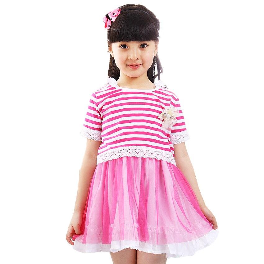 Girl Dress New 2017 Brand Fashion Lace Stripe Top Shirt &  Mesh Girls Dresses 2 Piece Kids Clothes Size 2 - 10