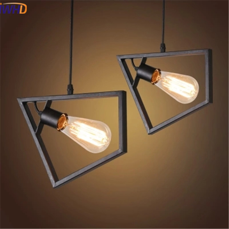 IWHD Iron Hanglamp Led Pendant Light Vintage Industrial Lighting Fixtures Loft Style Retro Lamp Kitchen Lampara Luminaire Lampen american retro pendant lights luminaire lamp iron industrial vintage led pendant lighting fixtures bar loft restaurant e27 black