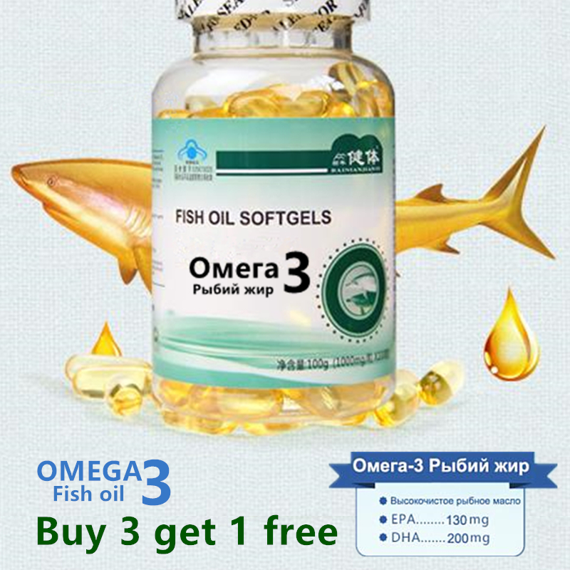 (Buy 3 Get 1 Free) Fish Oil Omega 3 DHA EPA High Quality Deap Sea Omega 3 Capsul 1000 Mg *100pcs Free Shipping(China)