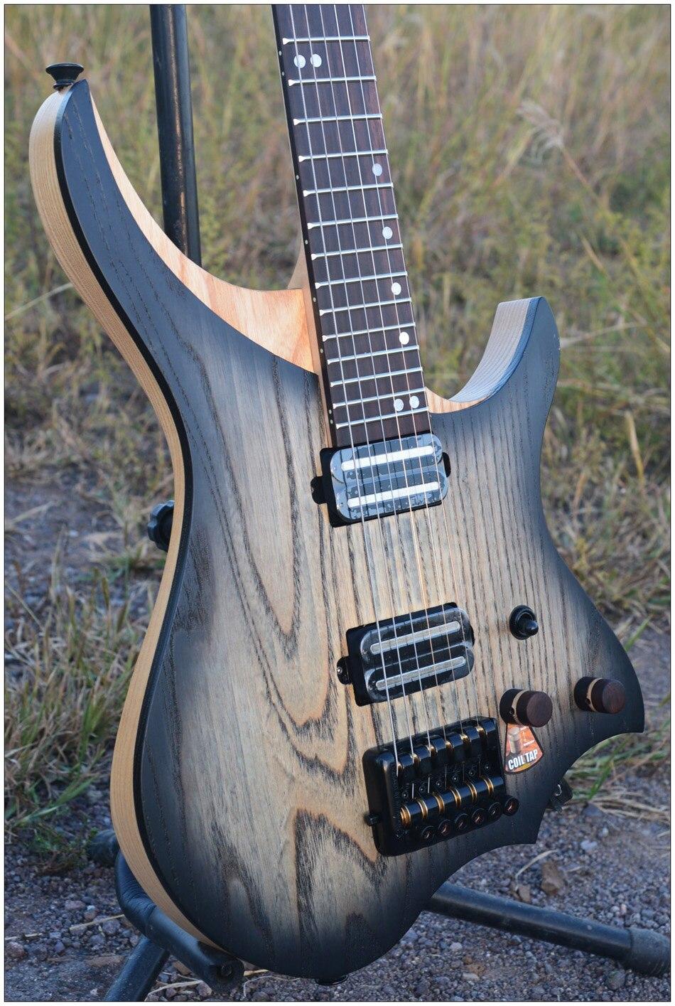 Guitare électrique sans tête NK modèle style noir rafale couleur flamme érable cou en stock guitare livraison gratuite