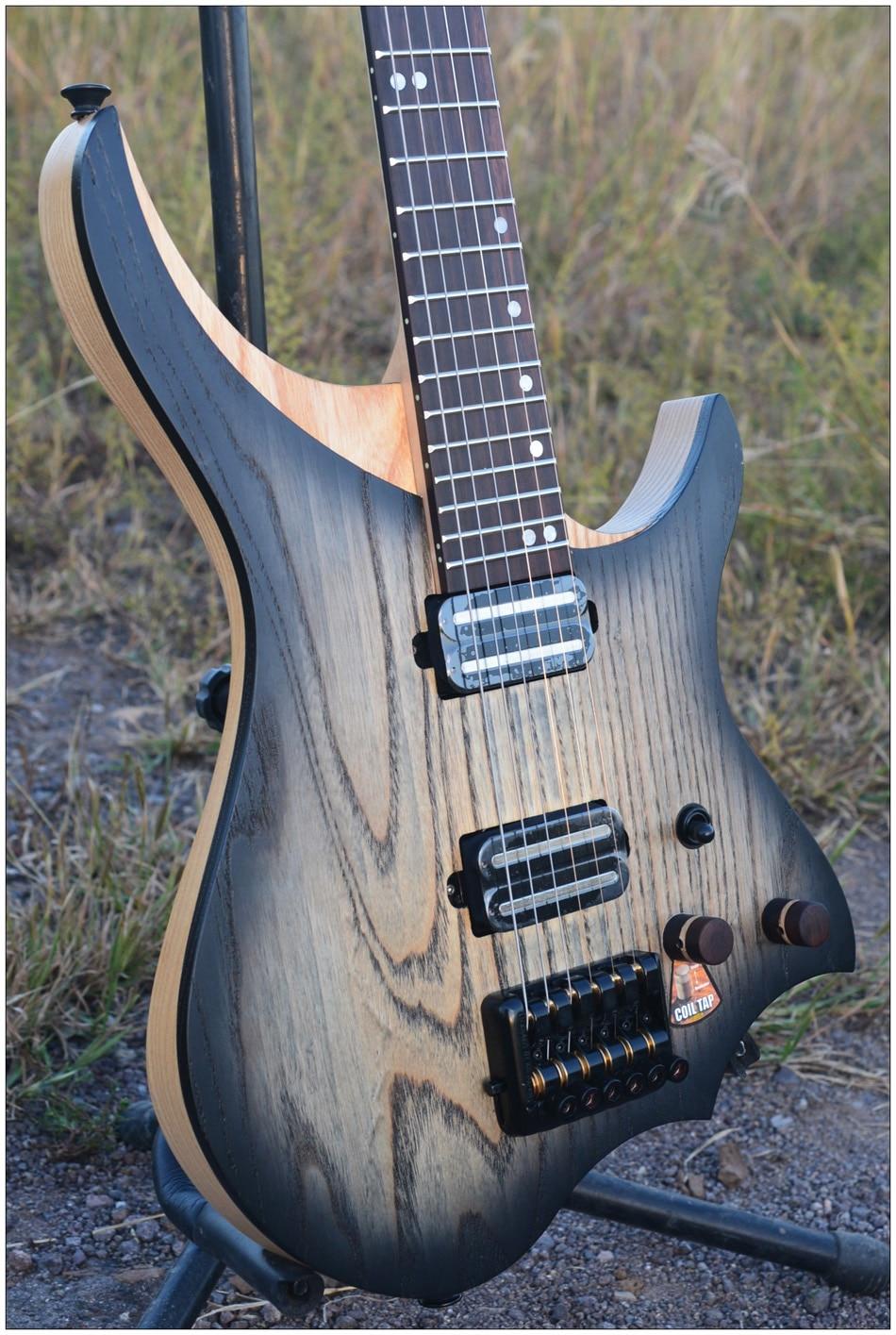 NK Sans Tête Guitare Électrique steinberger style Modèle Black burst couleur Flamme manche érable en stock Guitare livraison gratuite