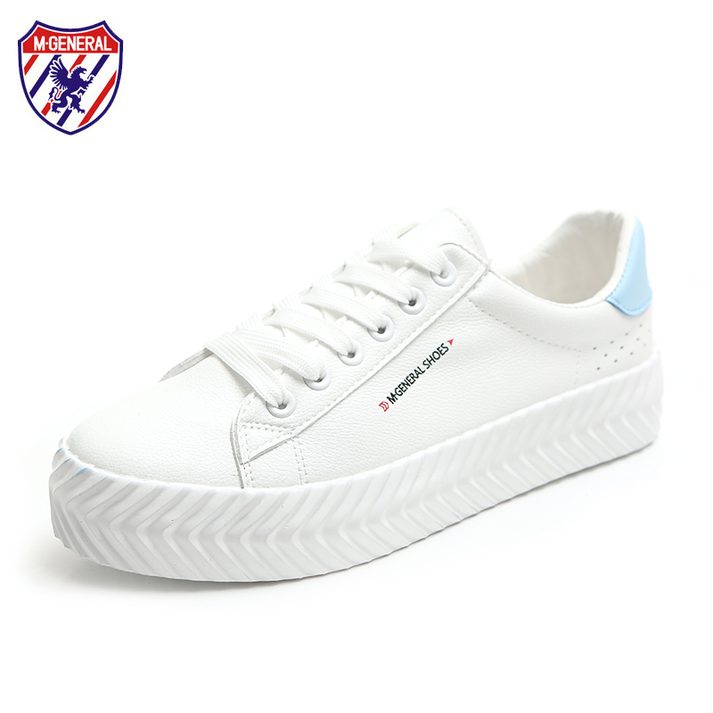 M.GENERAL 2018 Women Leather Shoes Female White Sneakers Thick Bottom Preppy Style Zapatillas Deportivas Mujer Blue Red 35-39 2017brand sport mesh men running shoes athletic sneakers air breath increased within zapatillas deportivas trainers couple shoes