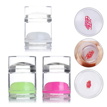 1 Pc Dual-ended Clear White Jelly Stamper Silicone with Rhinestone Nail Art Scraper Tool