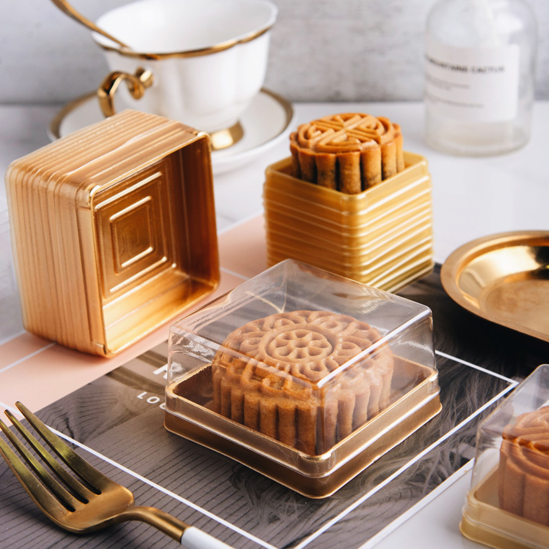 100 unids/lote 50/100g Mooncake caja con tapa postre pastel de Luna cajas de plástico yema embalaje pastel claro fuentes del partido