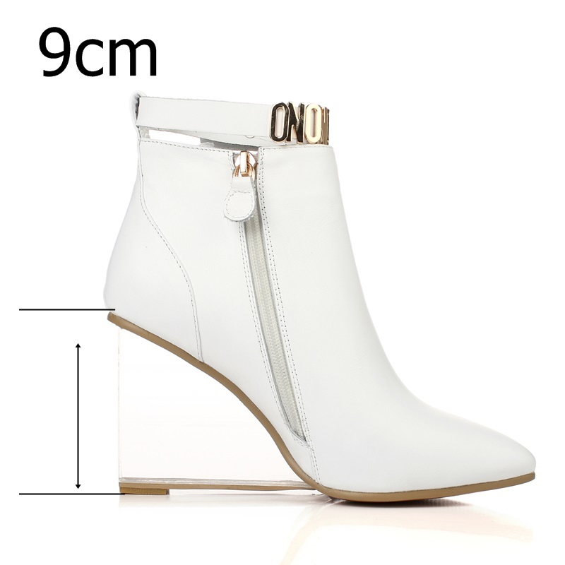 EGONERY women shoes crystal heel ankle boots side zipper sequined riding equestrian boots pointed toe metal buckles shoes 3