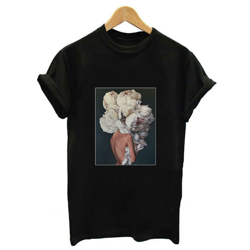2019 New Harajuku Aesthetics Art Print Women Top Shirt Sexy Flowers Short Sleeve Tees Summer Tops Fashion Casual Tumblr T Shirt