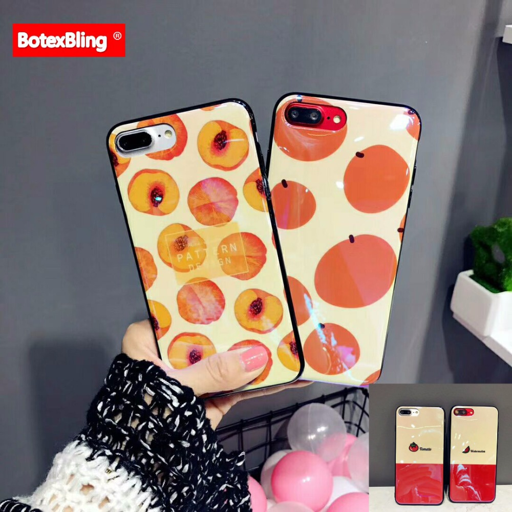 BotexBling cute Summer fruit watermelon peach IMD soft silicone phone cover for iphone 7 case 7plus 8 8plus X 6 6s plus 6plus